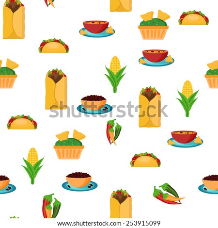 Seamless backgound with cartoon mexican food for your design - stock vector