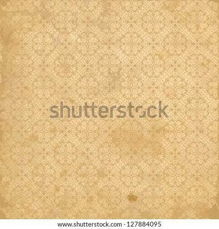 Seamless background baroque beige - stock vector