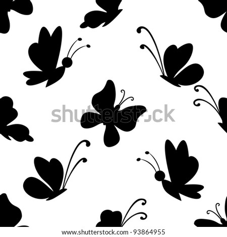 Seamless background, black silhouettes various butterflies on white. Vector - stock vector