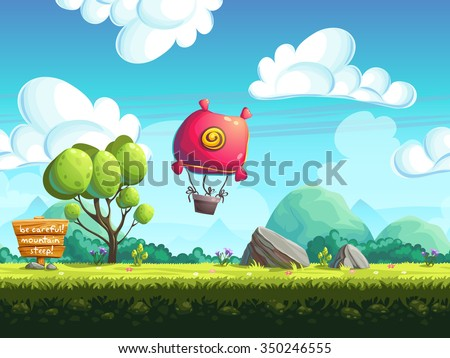 Seamless background blimp above the hills. Vector illustration for design, graphics, print, web, magazine, book, web games.