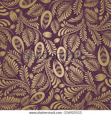 Seamless background burgundy, gold color - stock vector