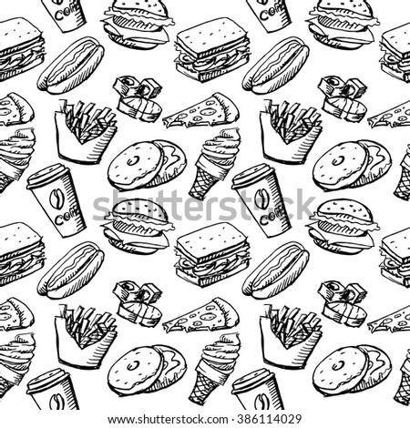 Seamless background by fast food elements. Hot dog, donuts, pizza, sushi, ice cream, burger, coffee cup. Vector stock illustration - stock vector
