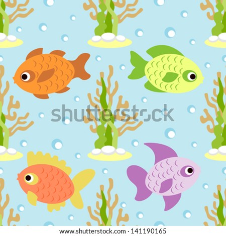Seamless background card with fish - stock vector