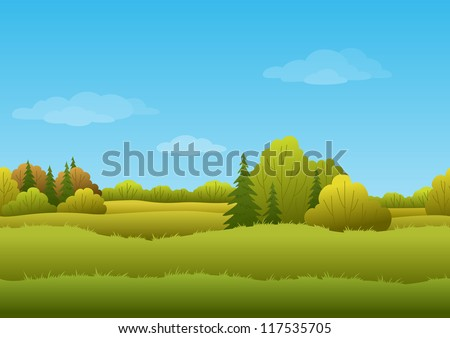 Seamless background, cartoon autumn landscape: forest and sky. Vector
