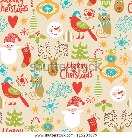 seamless background, Christmas and New Year's decorative elements - stock vector