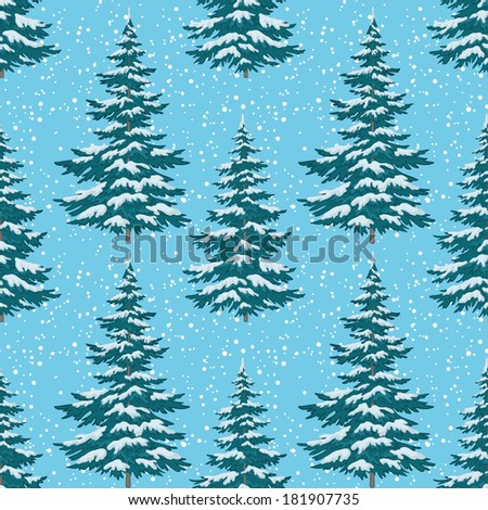 Seamless background, Christmas holiday trees against the blue sky with snow. Vector illustration - stock vector