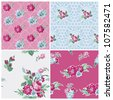 Seamless background Collection - Vintage Flowers - for design and scrapbook - in vector - stock vector