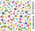 Seamless background: colored stars smilies on white. Vector - stock vector