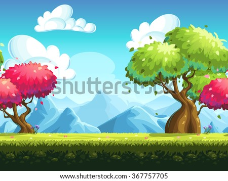 Seamless background colorful trees in the forest against the backdrop of the mountains - stock vector