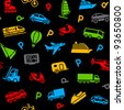 Seamless background, colors icons transport - stock vector