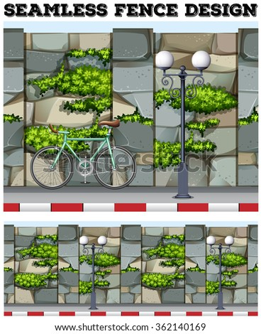 Seamless background design with brick fence illustration