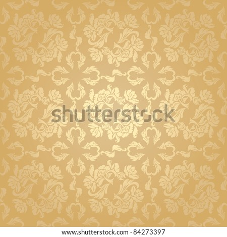 Seamless background flowers, floral - pattern. Gold - stock vector