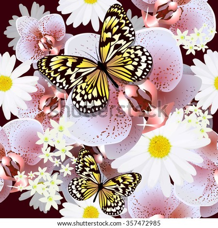 Seamless background flowers orchid with butterfly. Vector   - stock vector