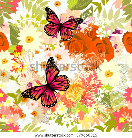 Seamless background flowers with butterfly. Vector  - stock vector