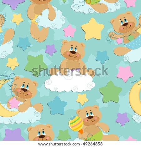 Seamless background for babies with bear toy (EPS10) - stock vector