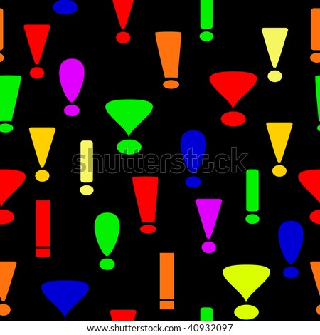 Seamless background from exclamation marks - stock vector