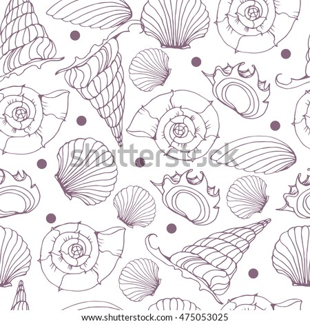 Seamless background from hand drawn sea shells. Marine illustration of shellfish.