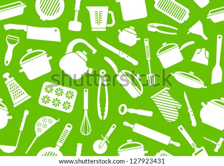 Seamless background from kitchen ware and utensils - stock vector