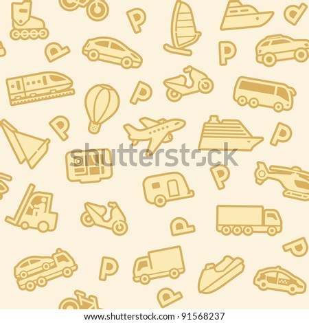 Seamless background, gold transport icons - stock vector