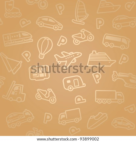 Seamless background. Gold transport icons - stock vector
