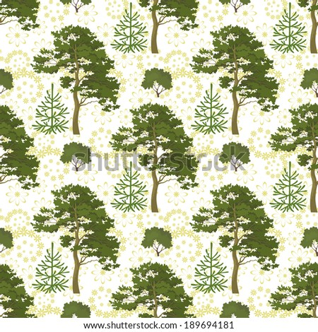 Seamless background, green summer forest with pine and fir trees, bushes and abstract floral pattern. Vector - stock vector