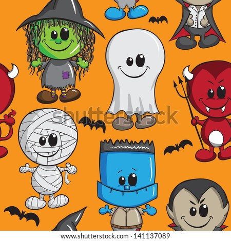 Seamless background - Halloween kids - Witch, Devil, Monster, Mummy, Dracula and Ghost - stock vector