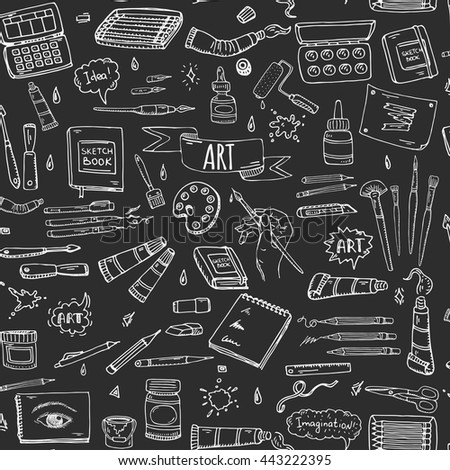 Seamless background Hand drawn doodle Art and Craft tools icons set Vector illustration artistic instruments symbols Cartoon Sketch Brush Watercolor Paint Elements isolated on blackboard