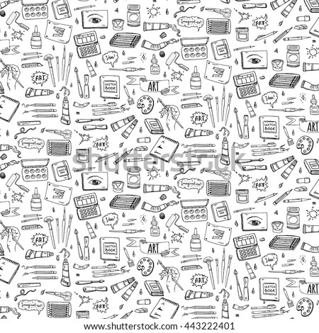 Seamless background Hand drawn doodle Art and Craft tools icons set Vector illustration artistic instruments symbols Cartoon Sketch Brush Watercolor Paint Elements isolated on white - stock vector