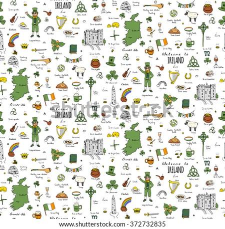 Seamless background hand drawn doodle Ireland set Vector Travel illustration Sketchy Irish traditional food icons Republic of Ireland elements Flag Map Celtic Cross Knot Castle Leprechaun Shamrock - stock vector