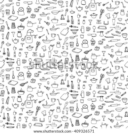 Seamless background hand drawn doodle Kitchen utensils set Vector illustration Sketchy kitchen ware icons collection Isolated appliance kitchen tools symbols Cooking equipment Tea pot Pan Knife Cup - stock vector