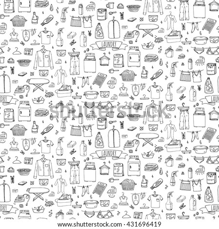 Seamless background Hand drawn doodle Laundry set. Vector illustration washing icons Cleaning garment business concept elements Housework Equipment, facilities for washing, drying and ironing clothes - stock vector