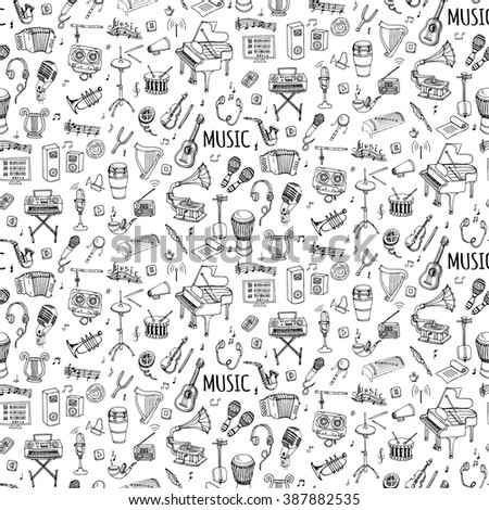Seamless background hand drawn doodle Music set Vector illustration musical instrument, symbols icons collections Cartoon sound elements Piano Guitar Violin Trumpet Drum Gramophone Saxophone Harp - stock vector