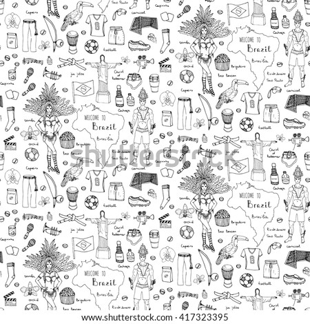 Seamless background Hand drawn doodle Welcome to Brazil set. Vector illustration Sketchy Brazilian traditional icons Cartoon national typical elements collection Landmark Football ball cleats Samba - stock vector