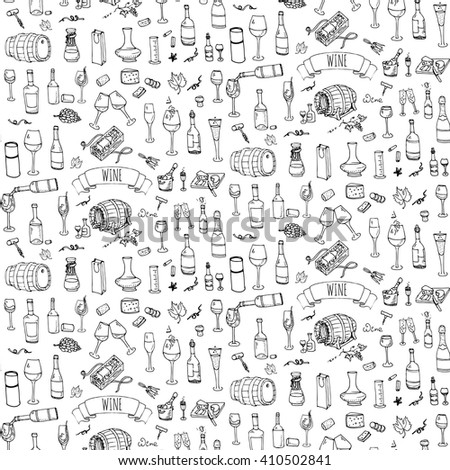 Seamless background Hand drawn wine and cheese set icons. Vector illustration Sketch tasting elements collection Objects Cartoon symbols Vineyard, Winery Grape Glass Bottle package Oak barrel - stock vector
