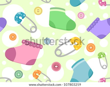 Seamless Background Illustration Featuring Baby Products - stock vector