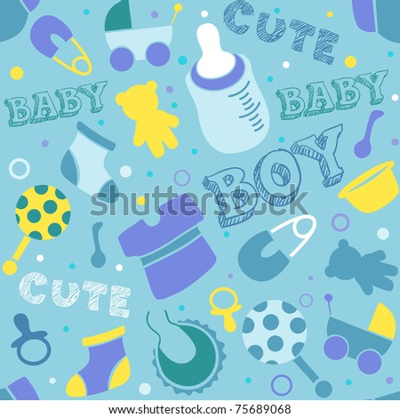 Seamless Background Illustration of Baby Related Icons - stock vector