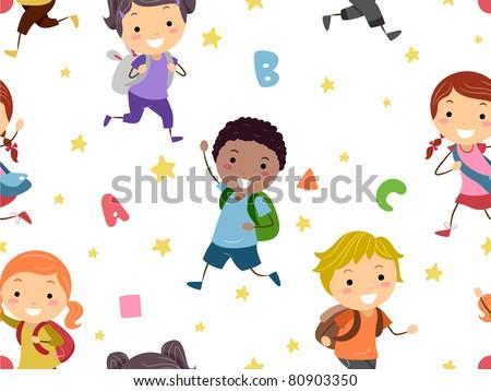 Seamless Background Illustration of Preschool Students - stock vector