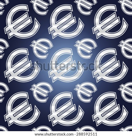 Seamless background illustration of repeating euro currency signs. - stock vector