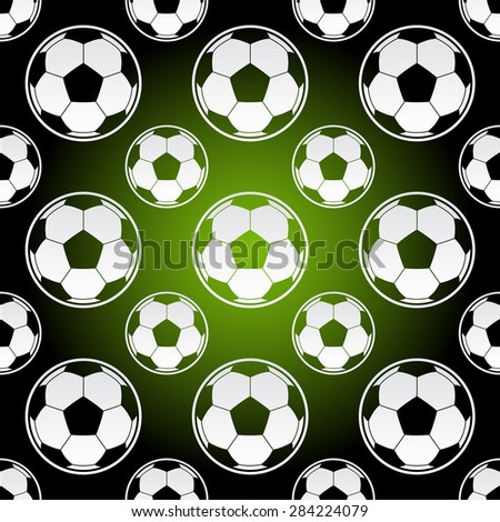 Seamless background illustration of repeating soccer football balls - stock vector