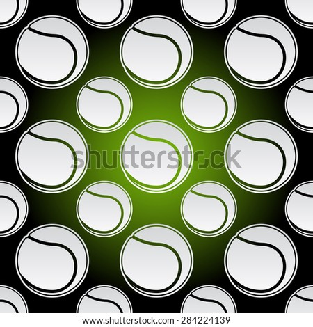 Seamless background illustration of repeating tennis balls - stock vector