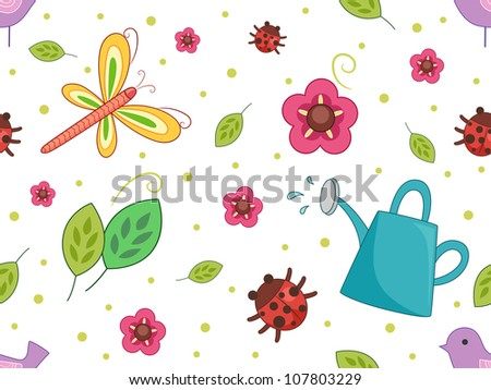 Seamless Background Illustration with a Nature Theme - stock vector