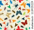 Seamless background illustration with insects in colors - stock photo