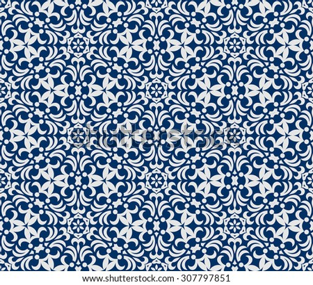 Seamless background in Arabic style. Blue and white wallpaper with patterns for design. Traditional oriental decor - stock vector