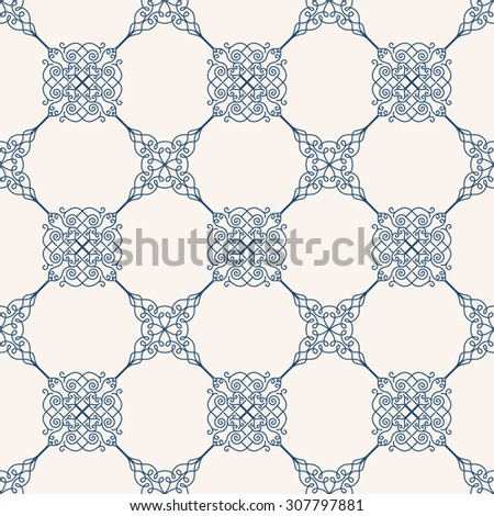 Seamless background in Arabic style. Blue patterns in white wallpaper for textile design. Traditional oriental decor - stock vector