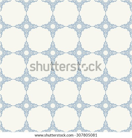 Seamless background in Arabic style. Blue patterns in white wallpaper for textile design. Classic oriental decor - stock vector