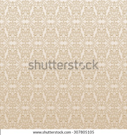 Seamless background in Arabic style. Gold patterns in beige wallpaper for textile design. Traditional oriental decor  - stock vector