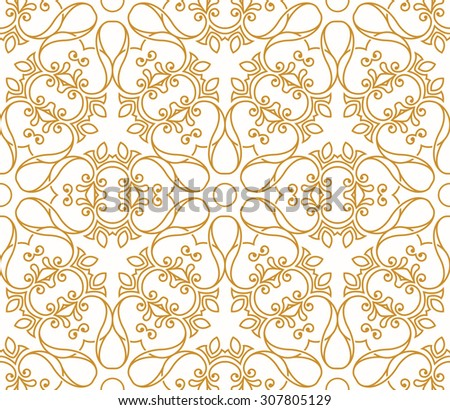 Seamless background in Arabic style. Gold patterns in transparent white wallpaper for textile design. Traditional oriental decor  - stock vector