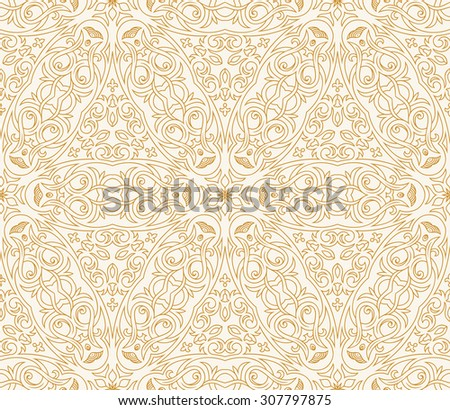 Seamless background in Arabic style. Gold wallpaper with patterns for design. Traditional oriental decor - stock vector