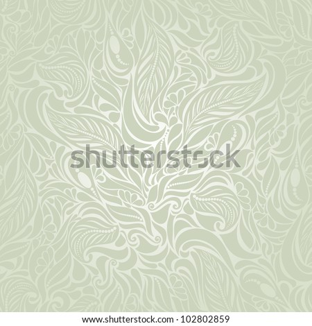 Seamless background in Baroque style green - stock vector