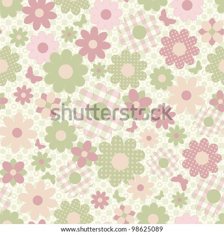 Seamless background in country style with flowers